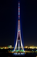 Riga TV Tower illuminated at night