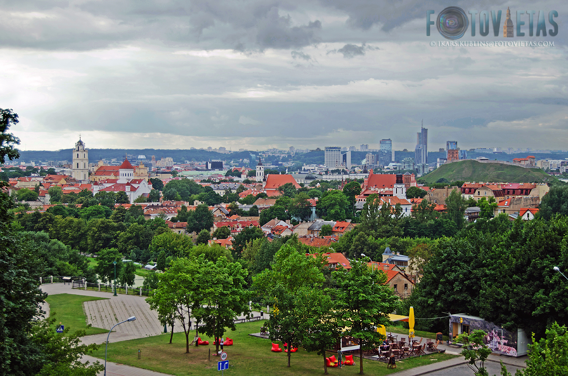 view over Vilnius Old Town and modern skyline