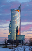 Swedbank office tower in Riga after sunset